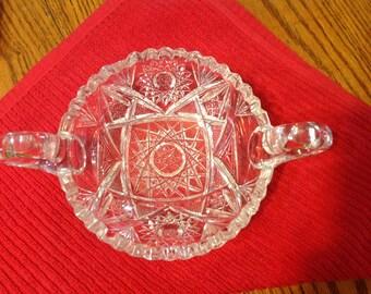 Vintage Crystal Round Serving Bowl Sawtooth Rim Heavy Cut Patterns