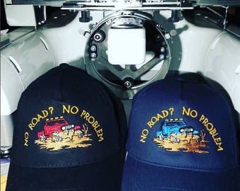 JEEP Hat JH3 - Custom EMBROIDERED in CrushProof Box - No Road  No Problem or Customize with Your Saying