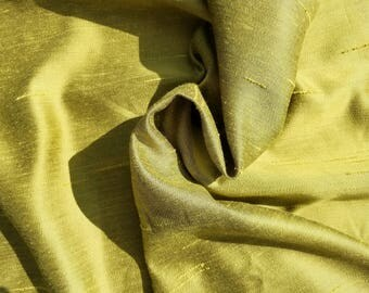 "Vintage Dupioni Silk Fabric, LEMONGRASS GREEN, Drapery Fabric, Home Decor, 46.5"" wide"