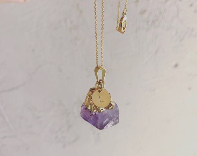 Amethyst Initial Gold Necklace