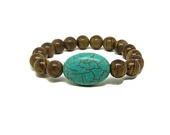 ON SALE Turqoise  Large Oval Stretched Bracelet with 10mm Natural Wood Beads