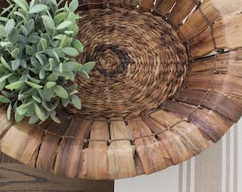 Large Oval Seagrass Basket . Vintage Basket . Storage . Rustic Farmhouse Decor . Wicker . Yarn . Fixer Upper Decor . Modern Farmhouse Decor