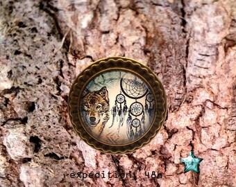 Ring adjustable 25mm, Wolf, dreamcatcher, Bohemian, ethnic, boho, native Americans, toho, cabochon jewel