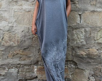 SALE ON 20 % OFF Grey Maxi Dress, Caftan, Hand painted dress, Plus size dress, Long dress, Kaftan , Woman dress, Dress with pockets