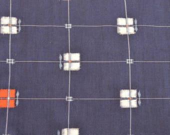 Indigo Geometric Vintage Japanese Meisen silk kimono fabric