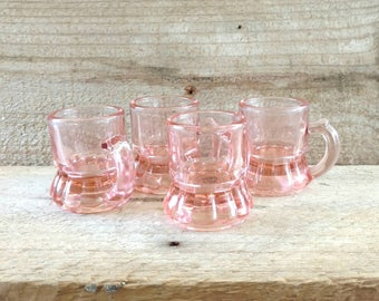 Pink Glass Mug Style Shot Glasses Watermelon Glass Handled Whiskey Shooters Set of 4 Federal Glass Depression Era