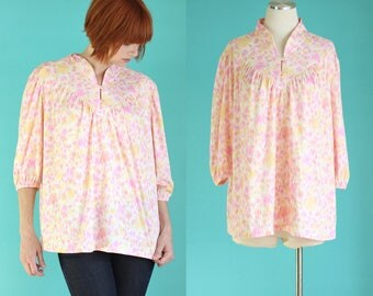 Vintage 70s Boho Tunic Top - Pink Shirt - Loose Top - Maternity Tops - Summer Top - Pink Blouse - 70s Blouse - Size Large / XL