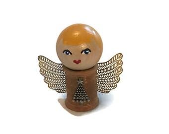 Christmas Doll: Vintage Wood Spool.