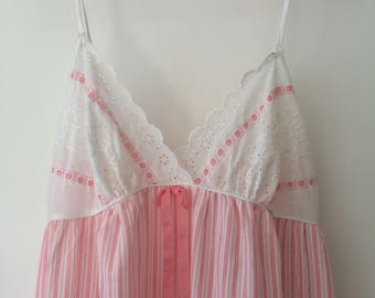 Vintage Pink negligee nightie pink and white pin stripes and lace