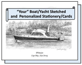 YOUR Boat Sketched & Cards  Personalized Boat Stationery Note Cards Original Your My Yacht Home   Custom Drawing  Nautical Party Invitations
