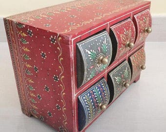 Hand painted wiiden drawer, handmade drawer, ethnic style, home decor, boho, gypsy, hippie, home decor, floral wooden chest