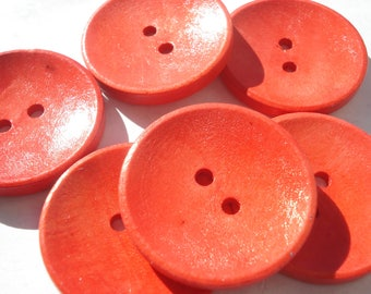 30mm Wood Sewing Buttons, 2-Hole Red Wooden Buttons, Pack of 6 Red Buttons, W3090