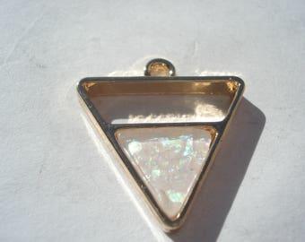 21mm Zinc Based Alloy Charm, Gold Plated Clear Triangle Imitation Opal Hollow Charm, Geometric Charm, C206