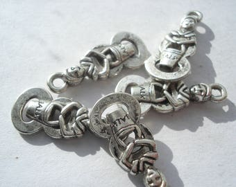 22mm Tibetan Style Alloy Charms, Number 8 Charms with Figure, Lead and Cadmium Free, Pack of 20 Antique Silver Charms, C366