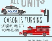 Rescue Vehicle party invitations!!  birthday, shower, wedding; Custom digital or printed invitation + FREE SHIPPING!