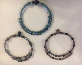 Glass bead and wire choker necklaces