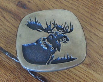 Vintage Moose Solid Brass Belt Buckle