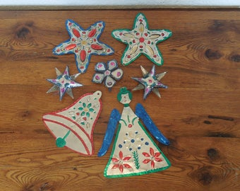 Vintage Mexican Folk Art Punched Tin Christmas Ornament Lot of 7 Stars Bell Angel