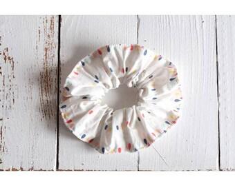 Scrunchies made organic cotton white drops multicolored