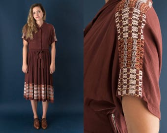 1950s Brick Red Dress - Vintage Woven Knee Length Dress - Trama Dress