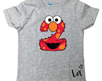 Custom Elmo Inspired Sesame Street Inspired Birthday number Shirt with Name on Back Tee