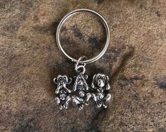 Three Wise Monkeys Silver Small Keychain Gifts Under 10