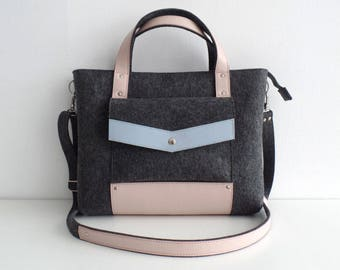 Gray Blue Pink Felt Leather Handbag