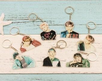 Kpop BTS WINGS Album Bangtan Boys Acrylic Plastic BTS Keychain K-pop Keyring PendantCute Keychain Perfect Christmas Gift Holiday Gift
