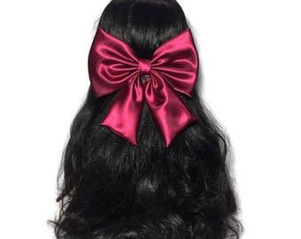 Wine Hair Bow, Wine Satin Hair Bow, Satin Big Bow, Wedding Pew Bow, Big Satin Bow, Handmade Bow, Wedding Bow, Bows For Girls ELWT030