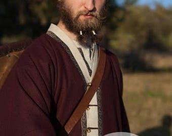 """IN STOCK! Size M; Brown Mens Coat Viking Kaftan """"Bjorn the Broadsword"""";"""