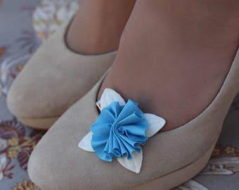 Blue and white flower brooch flower Barrette
