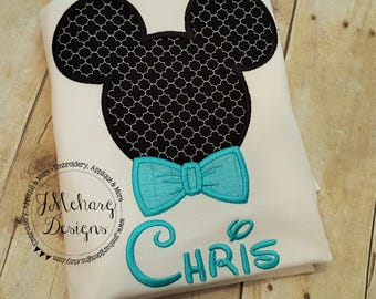 Boy Mouse with Bowtie Custom embroidered Disney Inspired Vacation Shirts for the Family! 979 aqua