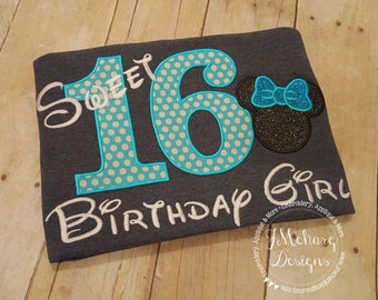 Disney-Inspired Birthday Shirt - Sweet 16 - Custom Birthday Tee 802c dk grey aqua