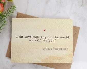 SALE Literature Valentines Card Shakespeare Quote - Love Card - Book Lover - Literary Greetings Card - Valentine's Day - Weddings