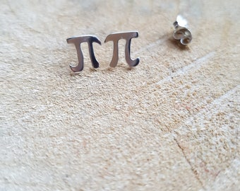 Pi Earrings Sterling Silver Pi Stud Earrings Math Jewellery Pi Symbol