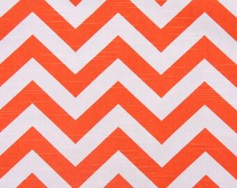 Premier Prints Zig Zag - Slub Drapery Fabric in Tangelo CLOSEOUT Fabric by the Yard