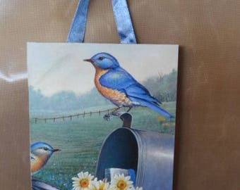 Countryside Scenery - Bluebird on Mailbox with Daisies on Hanging Wooden Decor