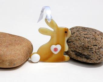 Fused Glass Bunny Ornament