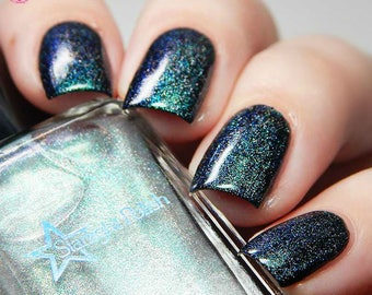 Kelpie Song Duochrome Holographic Color Shifting Top Coat Aqua to Violet Holo Indie Nail Lacquer Starlight and Sparkles Polish