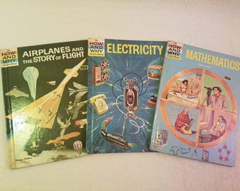 The how and why wonder books set of 3 books: Airplanes & Story of Flight, Electricity, and Mathematics, 1970