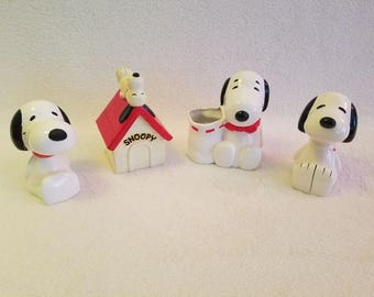 Snoopy peanuts RARE collectables, ceramic banks, paperweight, pencil holder