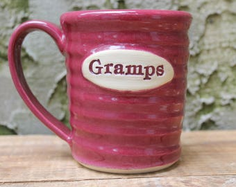 Gramps Mug, unique fathers day gift, last minute present, grandfather, Cranberry, In Stock, Ready to Ship