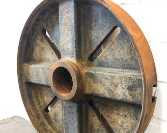 "Vintage Industrial Cast Iron Wheel Gear 14"" Diameter Flywheel Steampunk Lamp Base"