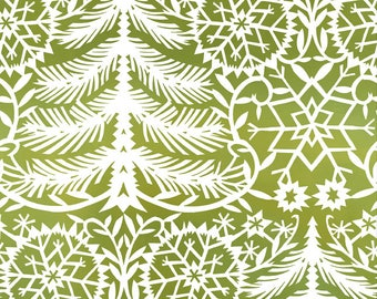 Christmas Fabric - White Trees, Snowflakes on Green - Cotton Yardage - Sewing Material - Quilting, Craft - Choose Fat Quarter, By The Yard