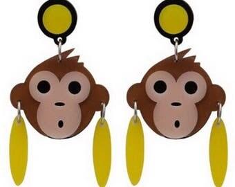 Vintage monkey fun earrings