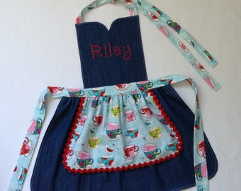 Toddler / Children Apron Personalized Handmade Blue Denim Cotton and Variety Cotton Accent Fabric Double Skirt Rickrack Sweetheart Neckline