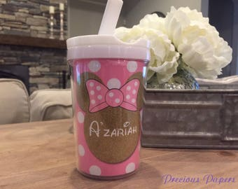 Personalized pink and gold Minnie Mouse kids cup with a lid and straw - Minnie Mouse personalized cups - Minnie Mouse kids cups