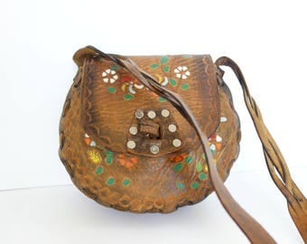 1970s Tooled Leather Purse, Hippie Purse Floral Hand Painted Tooled Leather Bag