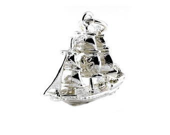 Sterling Silver Cutty Sark Clipper Charm For Bracelets
