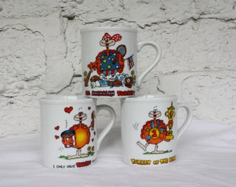Vintage Turkey Cups / Thanksgiving Coffee Cups / Novelty Coffee Cups / All American Turkey / Only Have Thighs For You Ceramic Mugs Set of 3